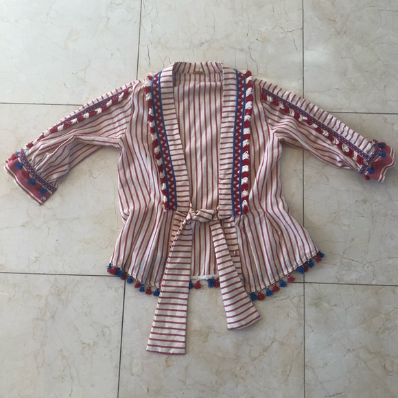 Dodo Bar Or Jacket.Dodo Bar Or Pom Wrap Jacket Pink And Cream Sz S
